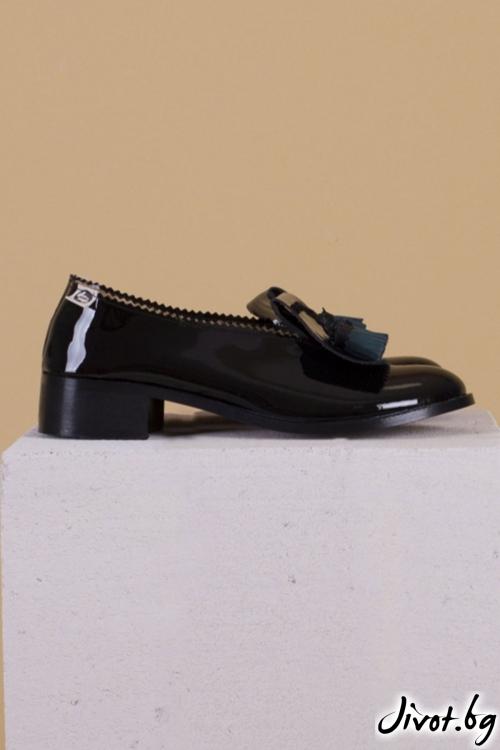 Черни обувки от естествена кожа Luxury / PESH ART