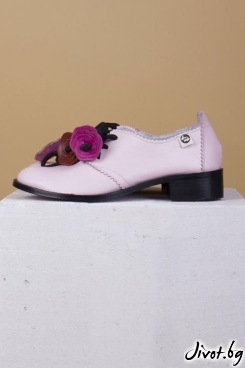 Черни кожени обувки Rose Splendor / PESH ART