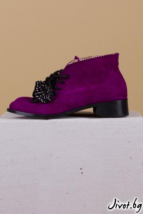 Дамски ръчно декорирани велурени обувки Salvia CC / PESH ART