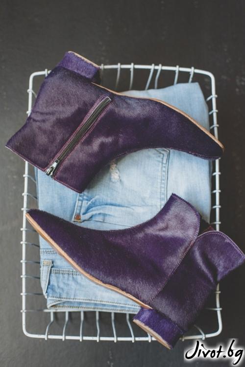 Дизайнерски боти от естественa кожа Furry in Purple / PESH ART