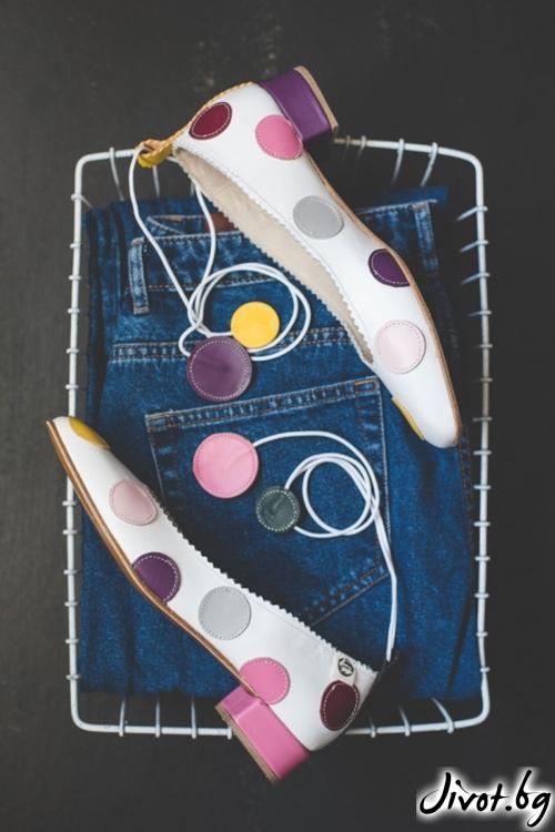 Дизайнерски обувки от естественa кожа Arabella Dots 2 / PESH ART