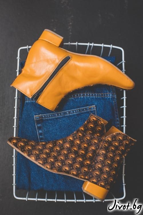 Дизайнерски боти от естественa кожа Arabella in Caramel / PESH ART