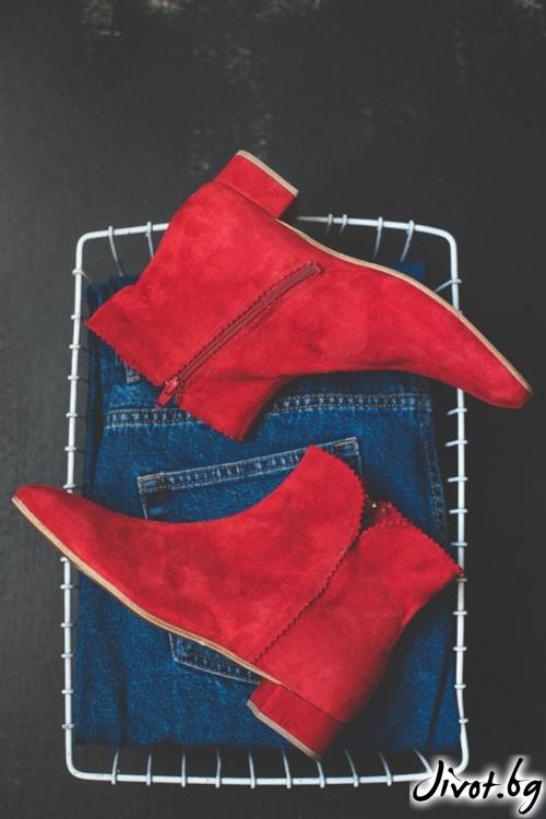 Дамски червени боти от естествен велур Arabella in Red 2 / PESH ART