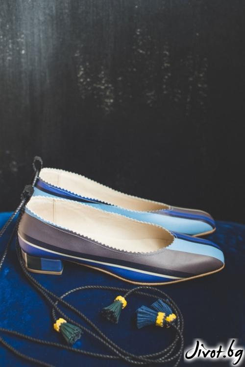 Дизайнерски обувки от естественa кожа Blue Stripes 2 / PESH ART