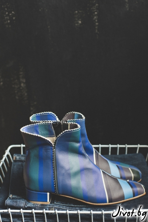 Дамски боти от естественa кожа Blue Stripes / PESH ART