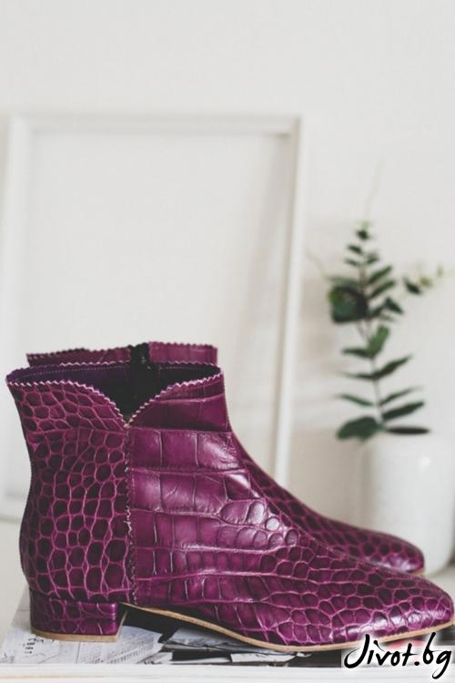 Дамски боти от естественa кожа Arabella in Purple / PESH ART