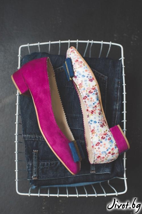 Дизайнерски обувки от естествен велур Arabella in Flowers / PESH ART