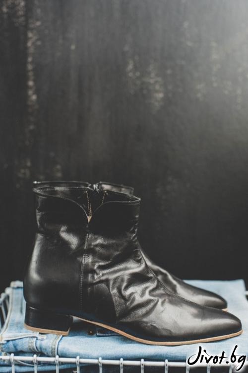 Дамски боти от естественa кожа Arabella in Black Nappa / PESH ART