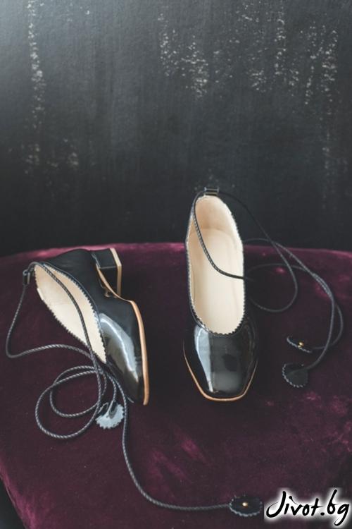 Дизайнерски обувки от естествен кожа и лак Arabella in Black Patent/ PESH ART