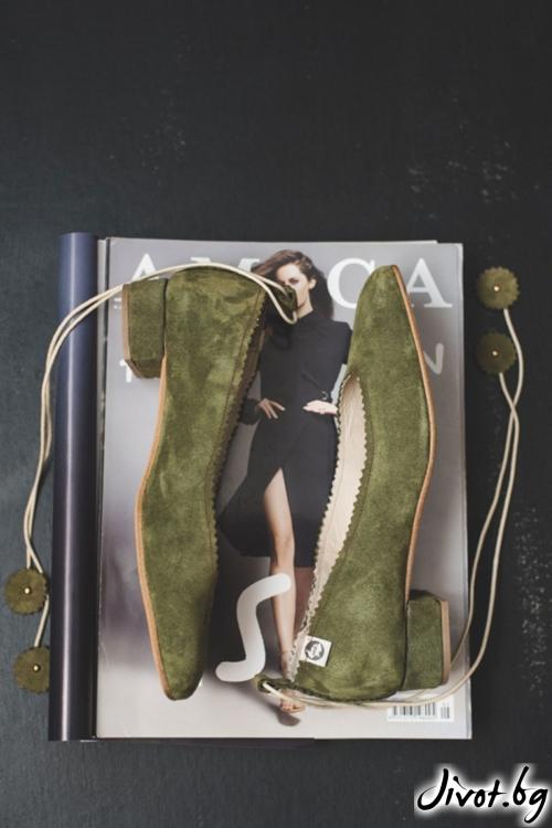 Дизайнерски обувки от естествен велур Green 2 / PESH ART