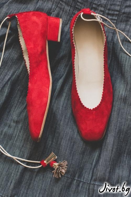 Дизайнерски обувки от естествен велур Arabella in Red / PESH ART