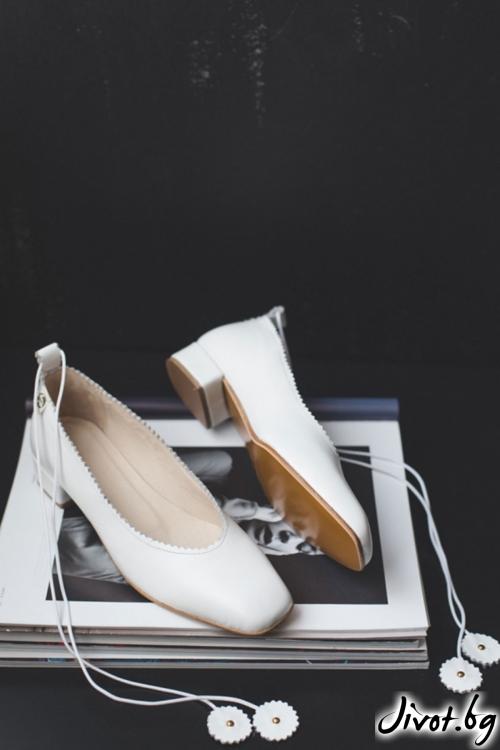 Дизайнерски обувки от естествена кожа Arabella in White / PESH ART