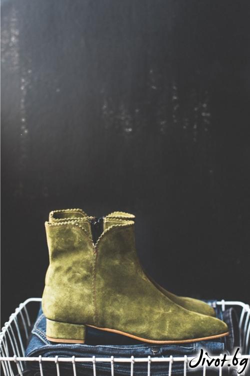 Дамски боти от естествен велур Arabella in Green / PESH ART