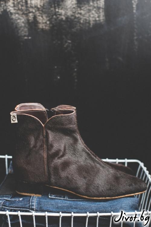 Дамски боти от естествена кожа Arabella Furry / PESH ART