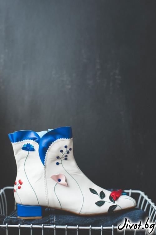 Дизайнерски дамски боти от естествена кожа Floral Arabellan / PESH ART