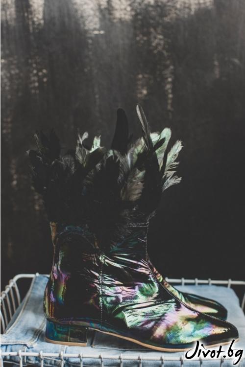 Дизайнерски боти от естествена кожа с пера Raven / PESH ART