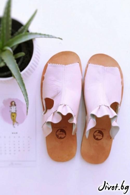 Розови сандали от естествена кожа Love Mules- Pink / PESH ART