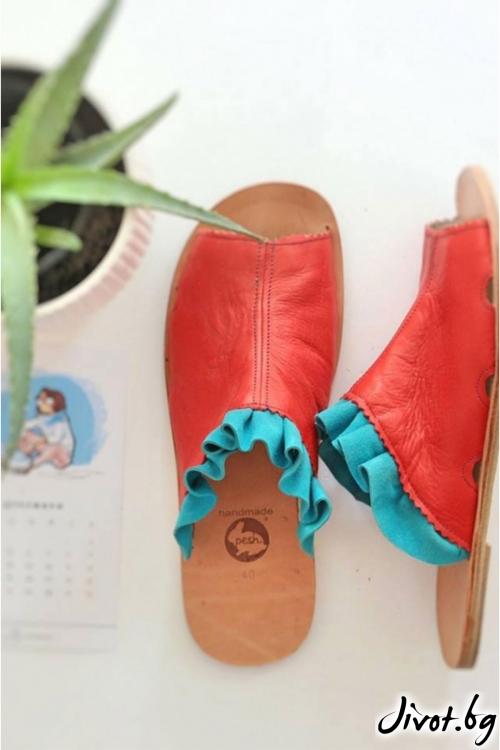 Червени кожени сандали June Mules / PESH ART