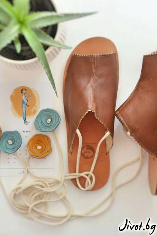 Кафеви сандали от естествена кожа Cinnamon Mules / PESH ART