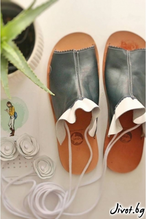 Дамски сандали от естествена кожа Green Mules 2 / PESH ART