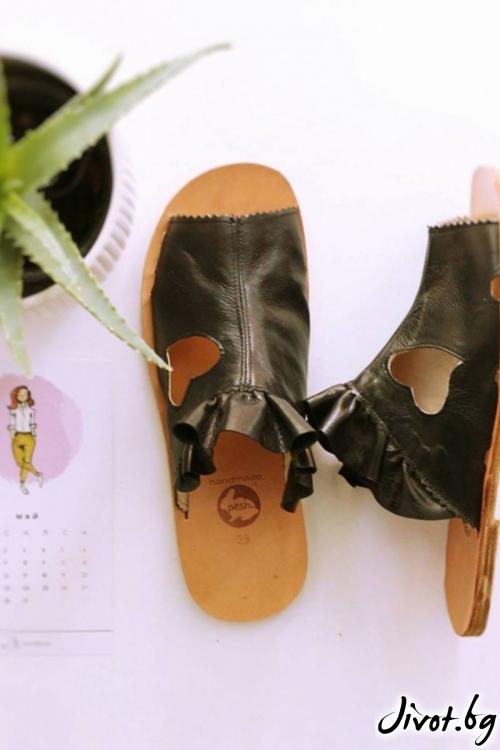 Черни сандали от естествена кожа Love Mules / PESH ART