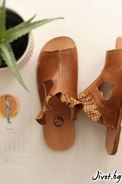 Бежови сандали от естествена кожа Love Beige / PESH ART