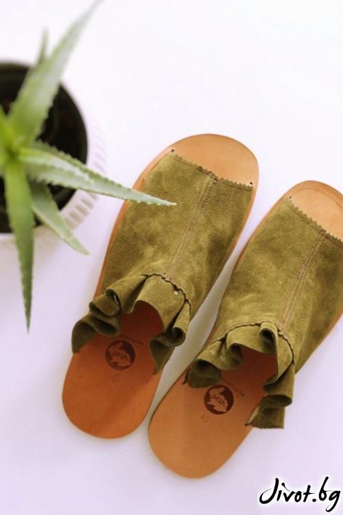 Сандали от естествен велур Green Mules / PESH ART