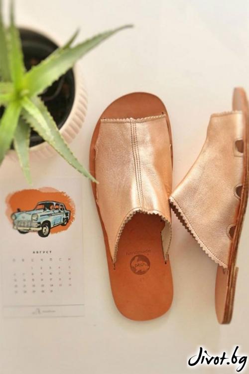 Дамски сандали от естествена кожа Bronze Mules / PESH ART
