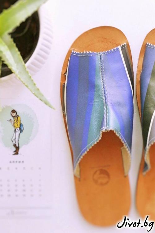 Дамски сандали от естествена кожа Blue Stripes / PESH ART