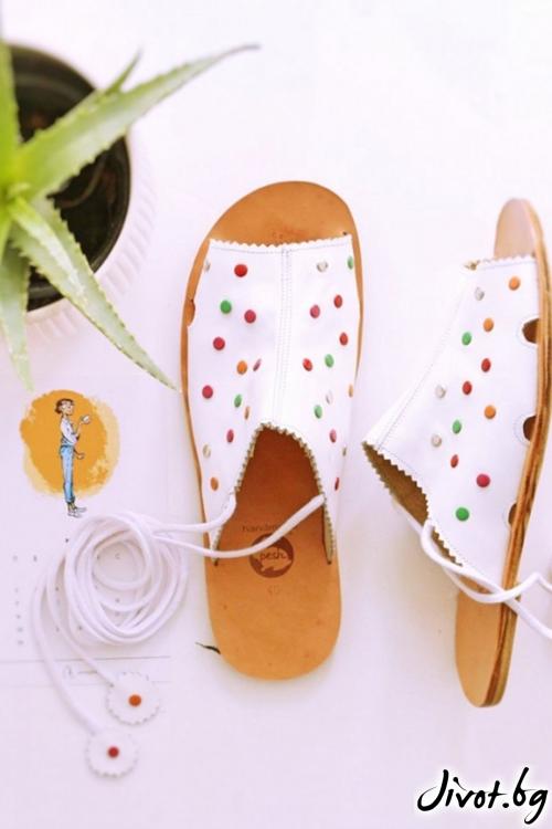 Дамски сандали от естествена кожа Freedom & Dots / PESH ART