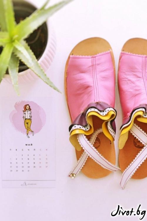 Дамски сандали от естествена кожа Light Up Mules / PESH ART