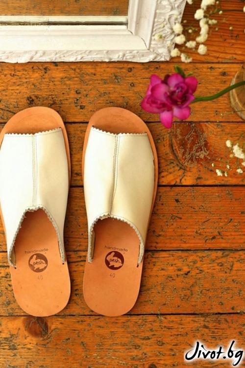 Бели сандали от естествена кожа Love Mules / PESH ART
