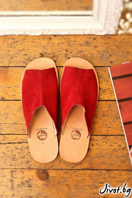 Червени сандали от естествена кожа Love Mules / PESH ART