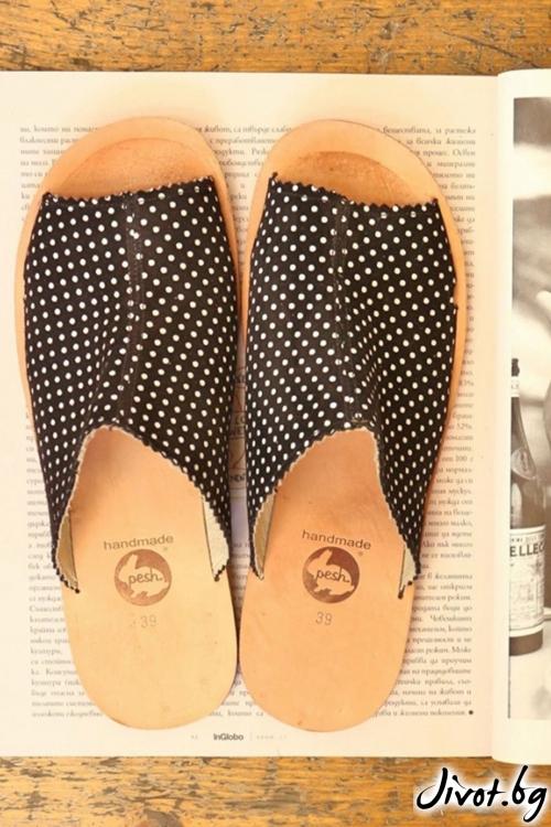 Дамски сандали от естествена кожа Mules Natural / PESH ART