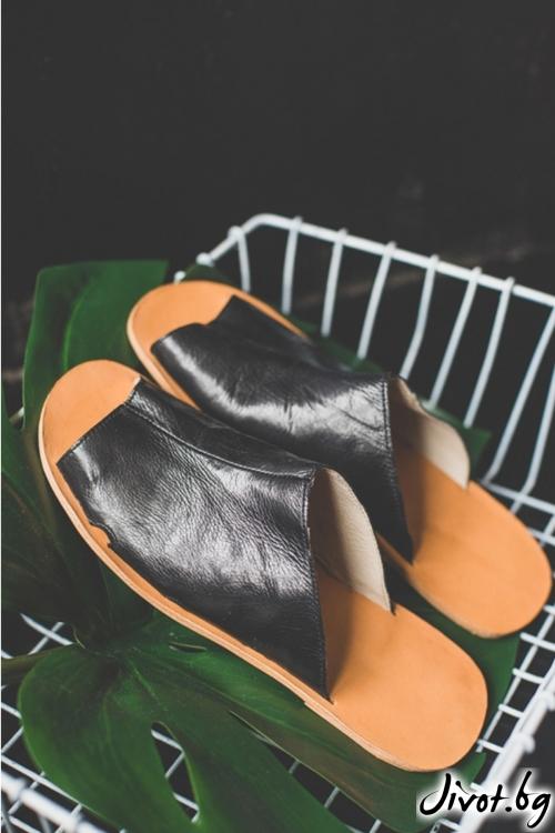 Черни сандали от естествена кожа Mules Natural / PESH ART