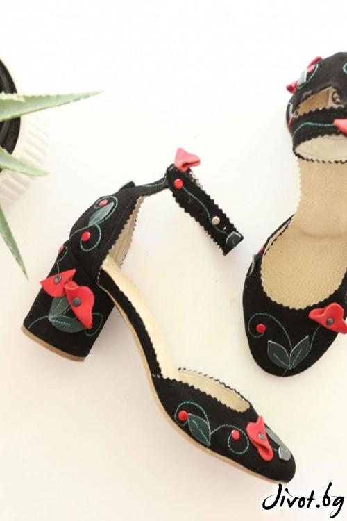 Дамски обувки на ток от естествена кожа Ines Poppy / PESH ART