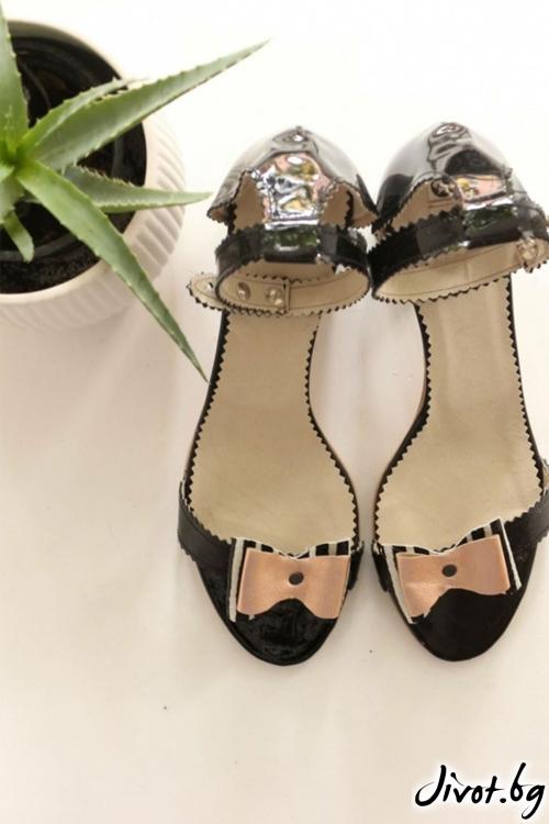 Дамски сандали на ток от естествена кожа Ines Splendor / PESH ART