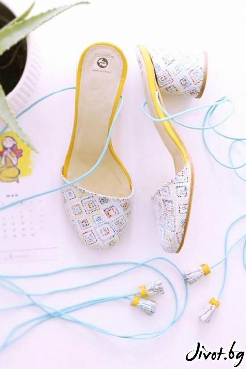 Дамски сандали на ток от естествена кожа Geometric Ines / PESH ART