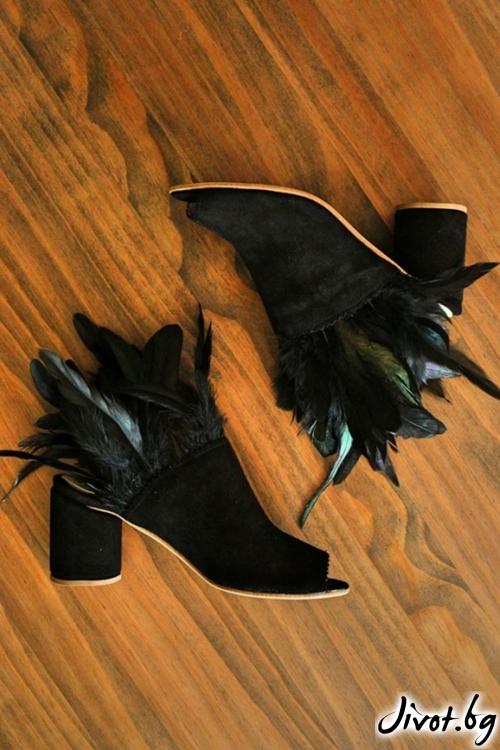 Дамски сандали на ток от естествен велур Ines Dark Mules / PESH ART