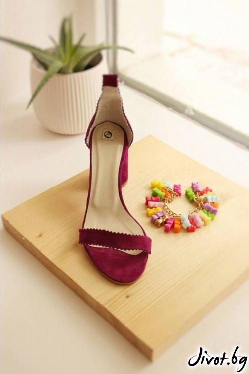 Дамски сандали на ток от естествен велур Ines Salvia / PESH ART