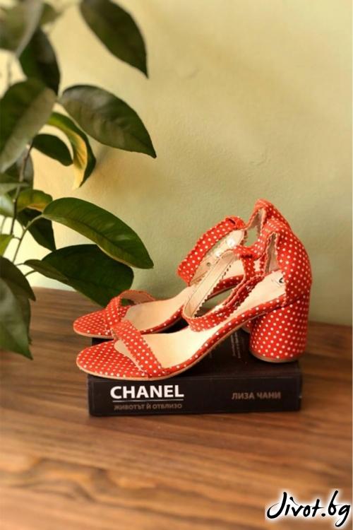 Дамски сандали на ток от естествен велур Ines Orange / PESH ART