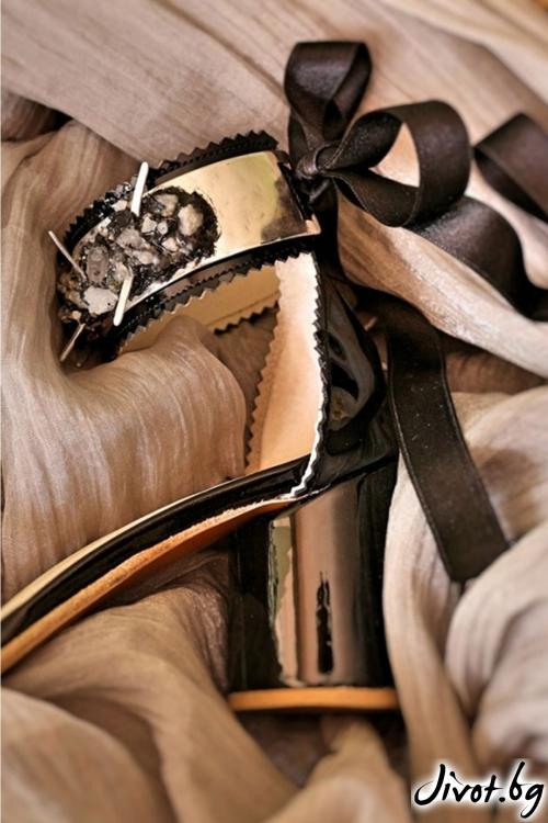 Дамски сандали на ток от естествена кожа и лак Ines / PESH ART