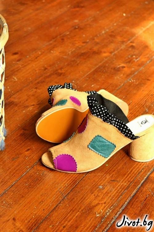 Дамски сандали на ток от естествена кожа Mules for Life / PESH ART