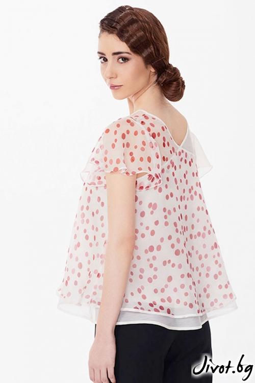 Kопринена бяла блуза на червени точки / Lila Style House