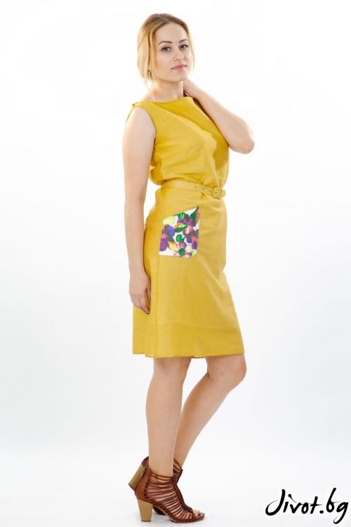 Рокля с едно рамо от рязан памук с подплата / Модна къща АМБИЦИЯ