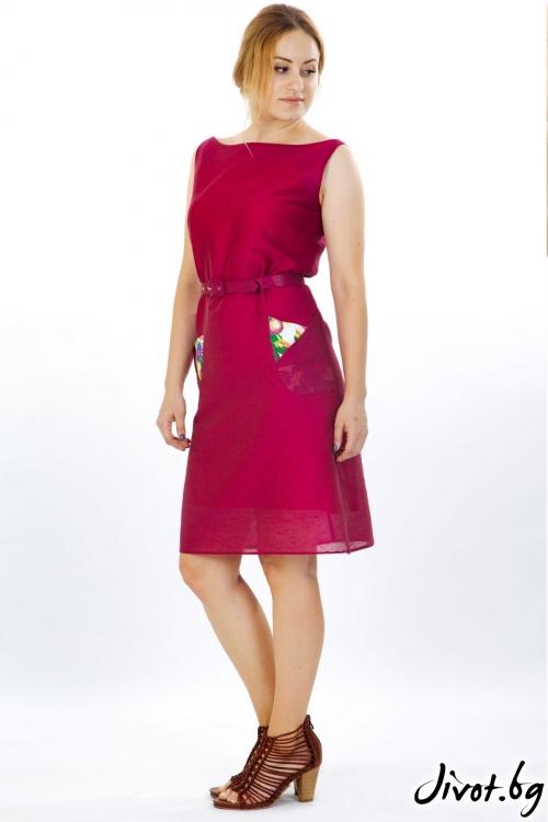 Разкошна рокля от лен с оригами джобове / Модна къща АМБИЦИЯ