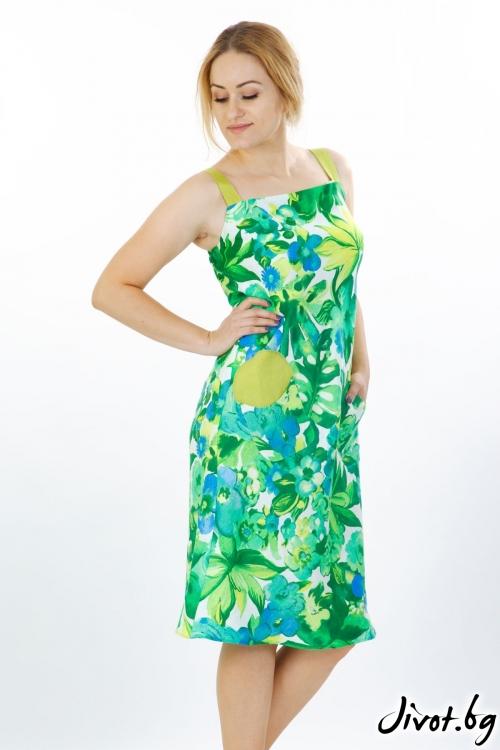 """Шикозна рокля от лен """"Зелени цветя"""" / Модна къща АМБИЦИЯ"""