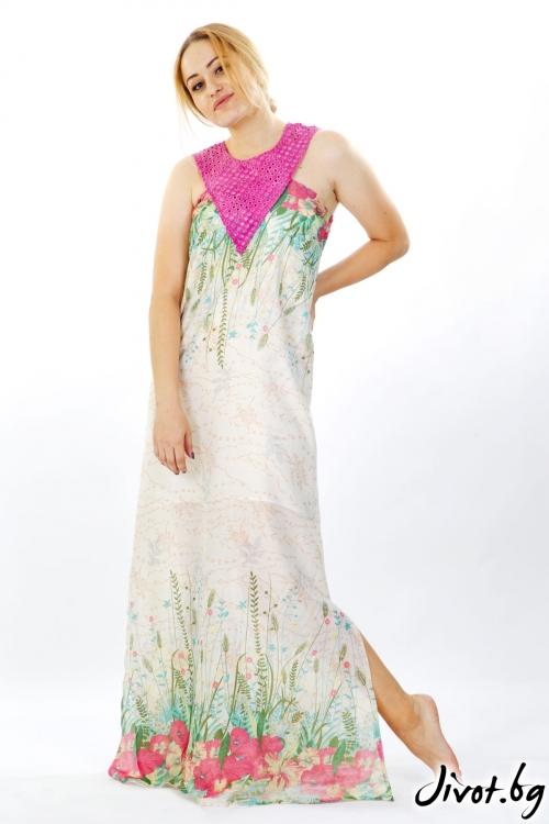 Дълга рокля на цветя от памук / Модна къща АМБИЦИЯ