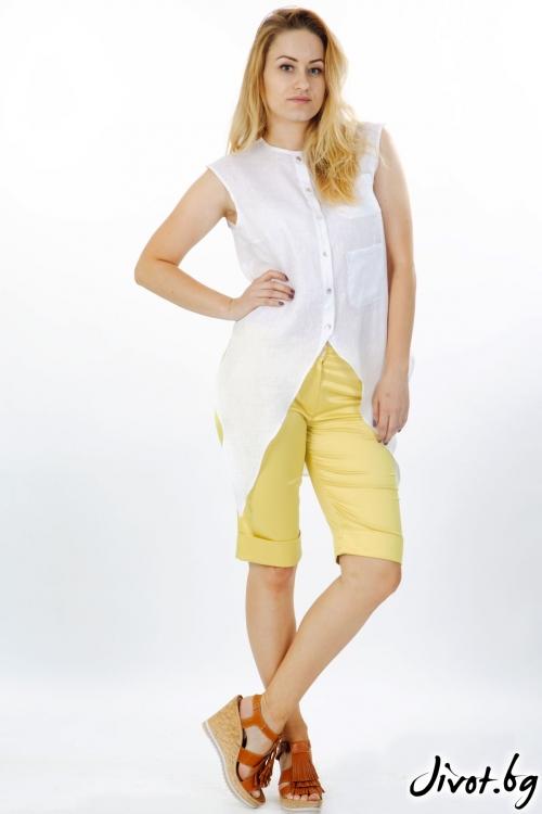 Жълт сатенен панталон / Модна къща АМБИЦИЯ