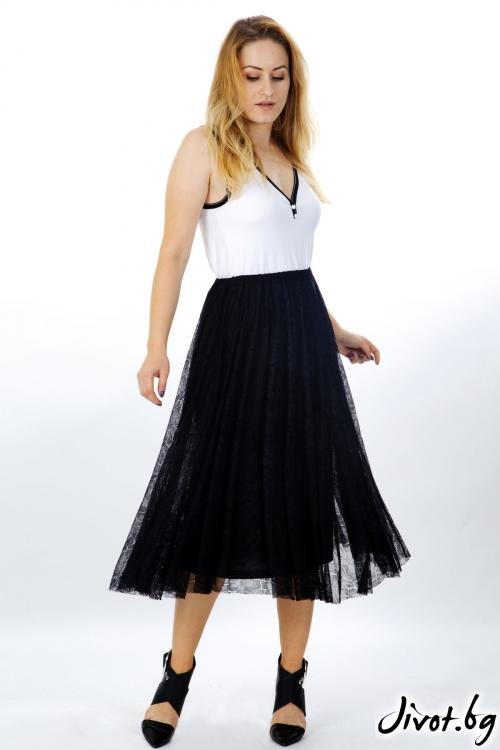 Елегантна пола от черна дантела / Модна къща АМБИЦИЯ